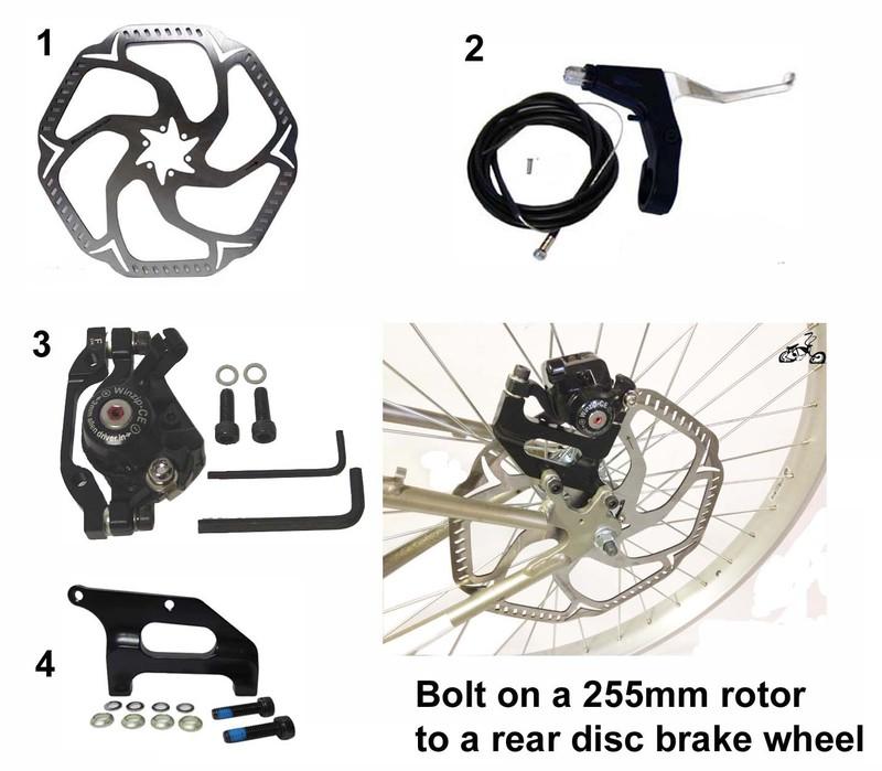 Mountain Bike Oversize Disc Brake Rotor Kit 255mm Rear