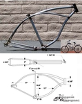 "Cruiser Bicycle Frame 26"" Raw Metal"