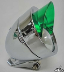 Bullet Light CHROME / GREEN VISOR