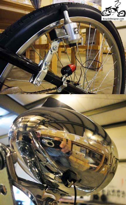 Bike Light Parts : Dynamo generator bullet light chrome