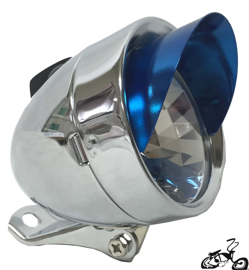 Bullet Light For A Bicycle With Chrome And Blue Visor