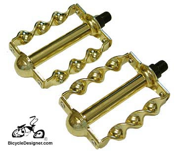 "1/2"" Lowrider Bicycle Pedals Flat Twist GOLD (pair)"