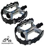 "1/2"" Cruiser Bicycle Pedals Alloy Grip BLACK (pair)"