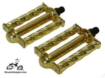 "1/2"" Lowrider Bicycle Pedals Tube Twist GOLD (pair)"