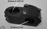 "Chopper Bicycle Stem for 1"" handlebar x 1 1/8"" steering tube - BLACK"