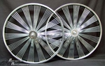 "26"" 140 Spoke Fan Coaster Wheel Set CHROME"
