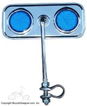 Lowrider Bicycle Mirror Rectangle BLUE/CHROME