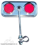 Lowrider Bicycle Mirror Rectangle RED/CHROME