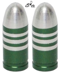Bullet Valve Cap GREEN STRIPE (pair)