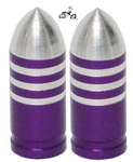 Bullet Valve Cap PURPLE STRIPE (pair)
