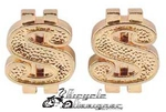 Dollar Sign Valve Cap GOLD (pair)