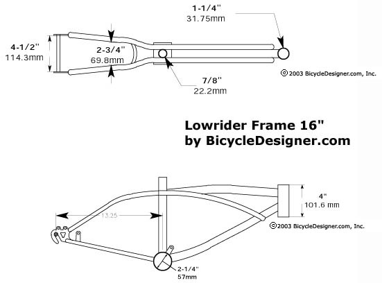 16 lowrider bicycle frame