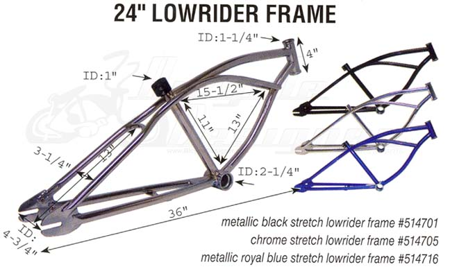 stretch lowrider bicycle frame 24