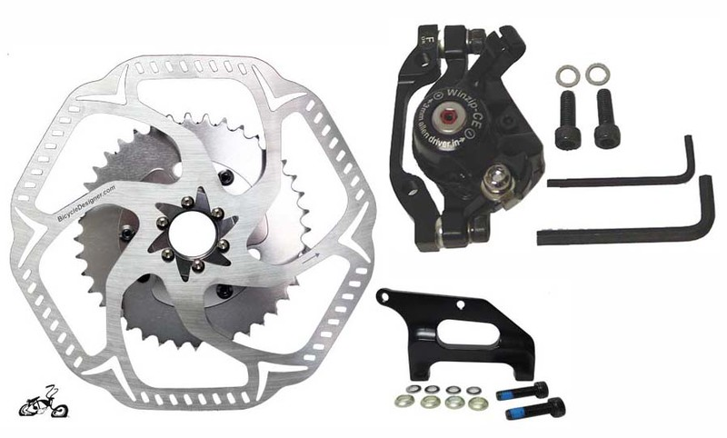motorized bicycle disc brake kit for a rear disc brke wheel