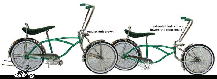 Gold Spring Fork Twisted Extended Crown Gold Lowrider Cruiser Bicycle NEW