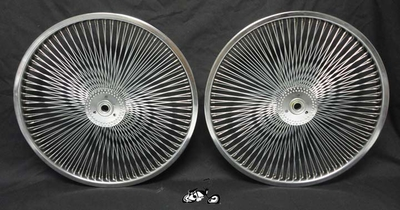 "20"" 140 Spoke Hollow Hub Wheel Set CHROME"