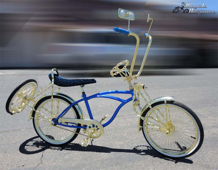 Lowrider Bike,Chopper Curiser Parts Gold Mirror with Green Reflectors