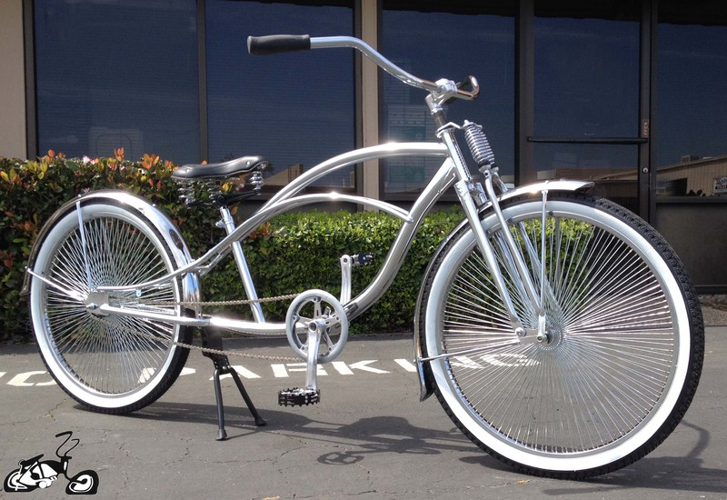 Stretch cruiser bicycle with cuda double springer fork for Custom motorized bicycles parts