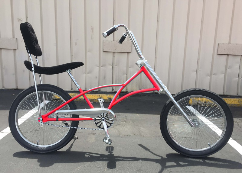 Mens High Back Chopper Bicycle with Red Color Frame
