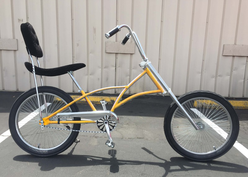 mens high back chopper bicycle with yellow color frame. Black Bedroom Furniture Sets. Home Design Ideas