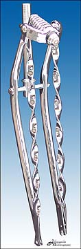 "26"" Straight Twist Springer Fork Heavy Duty - CHROME"