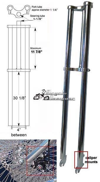 MOTORIZED BICYCLE TRIPLE TREE BICYCLE FORK 1 1//8″ threadless 31″ CHROMED