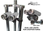 Dual LED Chopper Bullet Light Kit SILVER