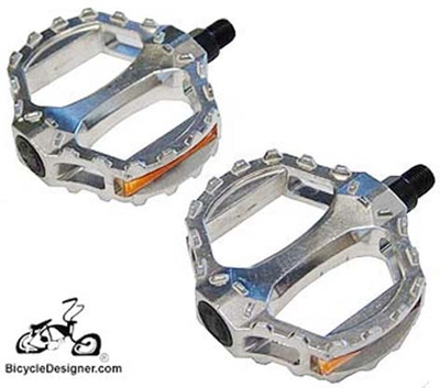 "1/2"" Chopper Bicycle Pedals Alloy Grip SILVER (pair)"