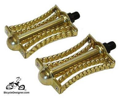 "1/2"" Lowrider Bicycle Pedals Double Twist Butterfly GOLD (pair)"
