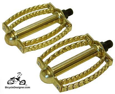 "1/2"" Lowrider Bicycle Pedals Double Round Twist Butterfly GOLD (pair)"