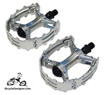 "1/2"" Cruiser Bicycle Pedals Alloy Grip SILVER (pair)"