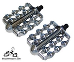 "1/2"" Lowrider Bicycle Pedals Flat Double Twist CHROME (pair)"