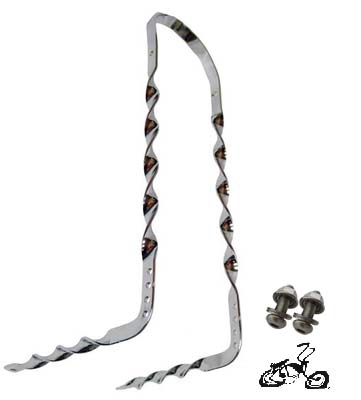 Lowrider Sissybar Bent Flat Twist - CHROME