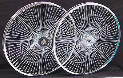 "24"" 140 Spoke Coaster Wheel Set CHROME"
