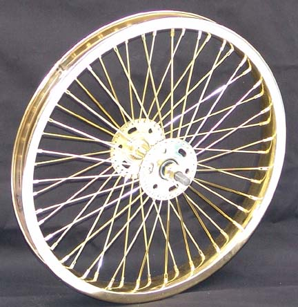 """Continental Bicycle Tires >> 16"""" 52 spoke Front Wheel GOLD"""