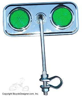 Lowrider Bicycle Mirror Rectangle GREEN/CHROME
