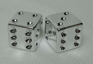 Dice Valve Cap CHROME (pair)