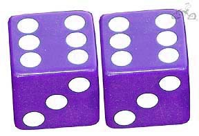 Bicycle Valve Cap Dice PURPLE (pair)