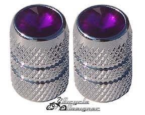 Bicycle Valve Caps Metal Purple Diamond