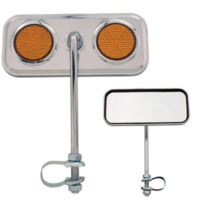 Lowrider Bicycle Mirror Rectangle AMBER/CHROME