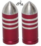 Bullet Valve Cap RED STRIPE (pair)