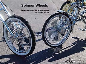 Spinning wheel bicycles and spinner wheels by