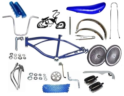 "Lowrider Bike Kit with 20"" 140 Spoke - BLUE"