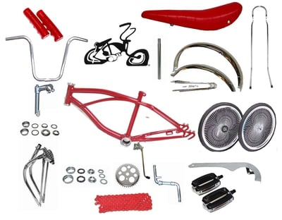 "Lowrider Bike Kit with 20"" 140 Spoke - RED"