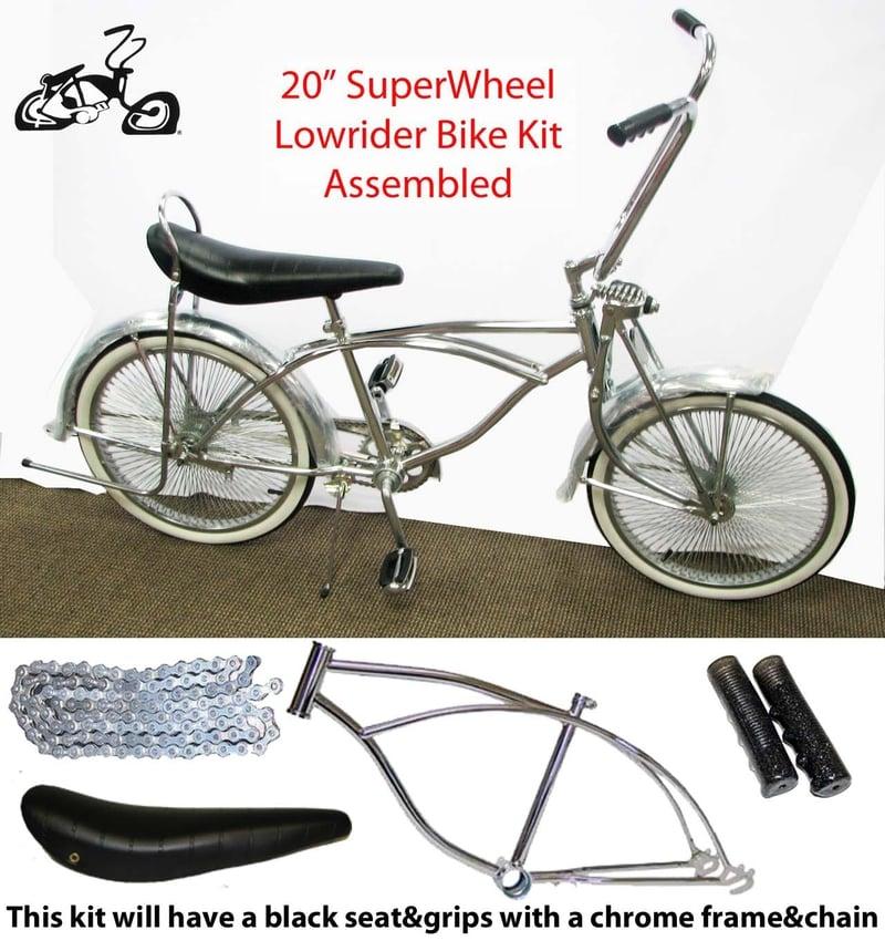 Lowrider Bike Kit with CHROME Frame and 140 Spoke Wheels