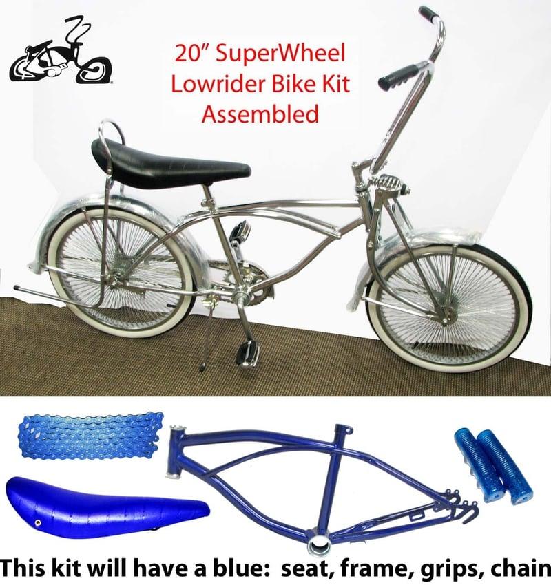 Lowrider Bike Kit with BLUE Frame and 140 Spoke Wheels