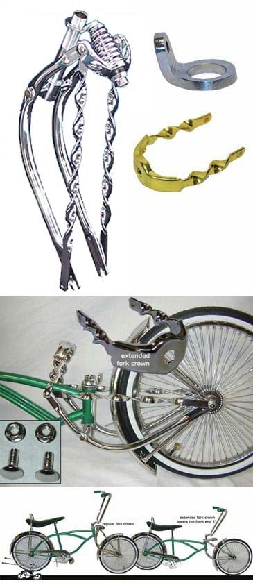 "20/"" Bent Spring Fork 1/"" Chrome lowrider bike part"