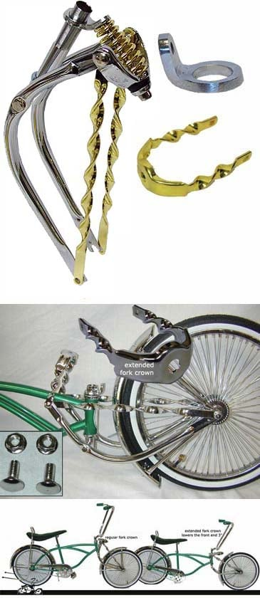 Lowrider Bike Stretched Front End With Gold Extended Crown