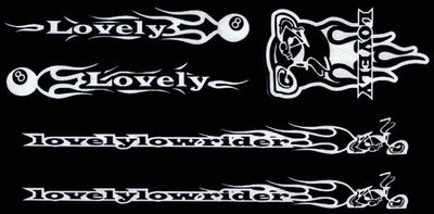 LovelyLowrider Bicycle Frame sticker Set - WHITE