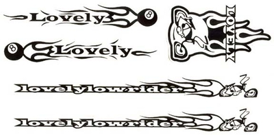 LovelyLowrider Bicycle Sticker Set BLACK (each)